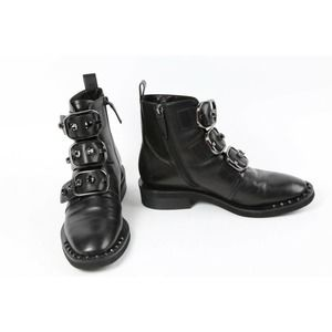 STACCATO Black Leather Buckle Rhinestone Detailed Ankle Boots Booties Size 6